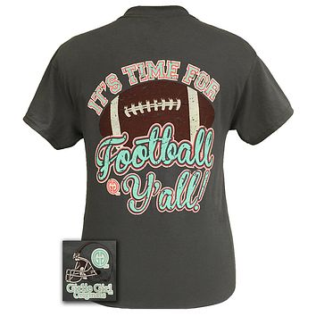 SALE Youth Girlie Girl Originals Time For Football Y'all Team Bright T Shirt