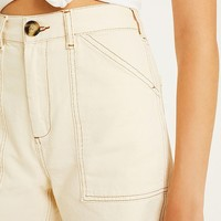 BDG Ecru Contrast Stitch Carpenter Shorts | Urban Outfitters