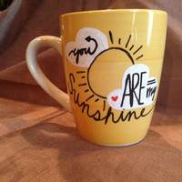 You Are My Sunshine Coffee Mug // Yellow Adorable 12 oz hand painted Design Clouds Sun