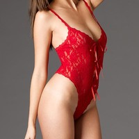 Lace Open Gusset Naughty Crotchless Teddy Lingerie