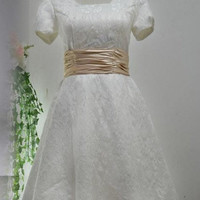 A-line Bateau Short sleeve Short/Mini Satin Lace Fashion Prom Dresses/Wedding Dress/Cocktail Dress With Sashes Free Shipping