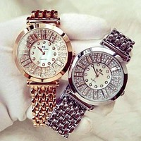 Spectacle Deluxe Austrian Crystal Stainless Steel Luxury Ladies Watch in Two Colors for Woman