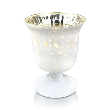 Vintage Mercury Glass Candle Holder (5-Inch, Emma Design, Fluted Urn, Pearl White) - Decorative Candle Holder - For Home Decor, Party Decorations, and Wedding Centerpieces