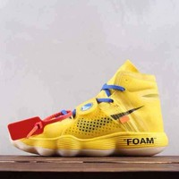 HCXX N301 Off-White x Nike REACT Hyperdunk 2017 Foam High Sports Shoes Yellow