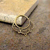 Indian Style Brass Ring For Pierced Nose, Septum, Earring, Cartridge Ring, Tragus Ring Nipple ring, Bendable 14G 16G