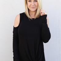 Knot Your Basic Cold Shoulder {Black}
