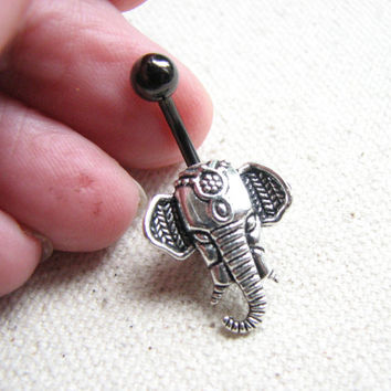 Elephant Belly Button Rings - Post Belly Button Jewelry, Tribal India Elephant Black Titanium Bellybutton Ring, Navel Piercing Body Jewelry