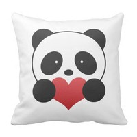 Panda Holding A Heart Pillow