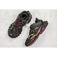Balenciaga Track Trainers In Burgundy And Black Mesh And Nylon Sneakers