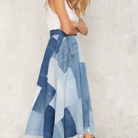 After Party by Nasty Gal Patch Down Denim Skirt