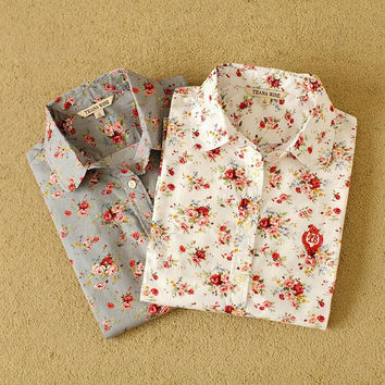 Floral Print Long-Sleeve Collar Button Shirt