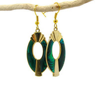 Emerald Green Enamel Earrings, Green and Black Enamel with Gold Pendants, Upcycled Vintage