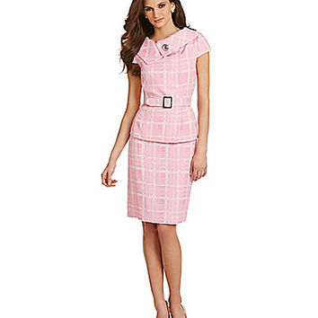 Tahari by ASL Plaid Belted Skirt Suit - Pink