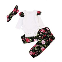 born Baby Girls Tops Long Sleeve Romper+ Floral Pants +Headband Outfits Set Clothes