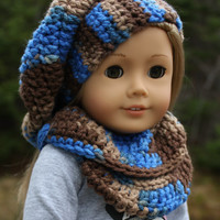 blue and brown mix beret style crochet slouch hat with infinity scarf,  18 inch doll clothes, American girl, Maplelea