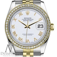 White Color Roman Numeral Dial Rolex 36mm Datejust 18K & SS Jubilee Unisex Watch
