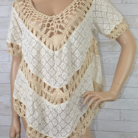 Taking My Time - Lace Knit Open Crochet Top - Umgee- Natural