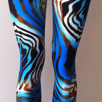 Soul Trend Womens Leggings/Tights/Printed Nylon Spandex/Aqua Green Brown Funky Retro Swirls Size: 8, 10, 12, 14, 16 New