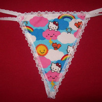 Womens HELLO KITTY CLOUDS G-String Thong Bachelorette Shower Gift Lingerie Panty Underwear