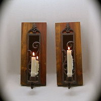 Candle sconce, Cedar, Reclaimed Wood Candle Sconce, Beautiful mirror & cast iron Wall Sconce, Handmade, Ready to hang.