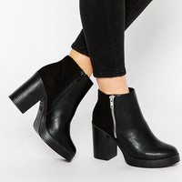 New Look Zip Detail Chunky Heeled Boots