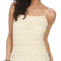 Scallop Crochet Tiered Tank - Teen Clothing by Wet Seal