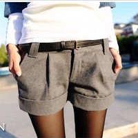 2016 Autumn And Winter Women's Turn-up Straight Woolen Bootcut Short Pants Plus Large Big Size Casual Shorts Black Grey
