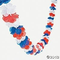 SIX (6) Strands 9' (TOTAL 54') PATRIOTIC/USA/4th of JULY Lei GARLAND/RED White Blue Flower DECOR/Party DECORATIONS/TROPICAL/AMERICA/HIBISCUS Flower