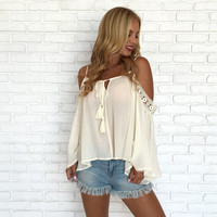 Stay Strong Off Shoulder Top In Cream
