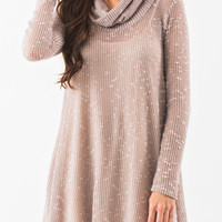 Gwen Taupe Cowl Neck Sweater Dress