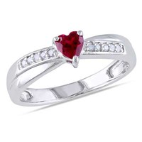 4.0mm Heart-Shaped Lab-Created Ruby and Diamond Accent Promise Ring in Sterling Silver