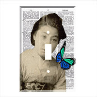 Light Switch Cover - Light Switch Plate Butterfly Geisha Vintage Dictionary Print