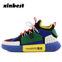 2018 Xinbest Women Skateboarding Shoes Outdoor Athletic Men Sneakers Mixed Colors Sport Shoes For Women For Men Fly line Fabric