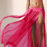Hot Pink Side Slit Maxi Skirt