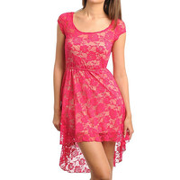 Lace Overlay Hi-Lo Dress in Fuchsia