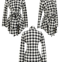 Checkered Sweater Blouse