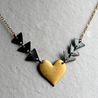 Hearts and Triangles Necklace Handmade by by RachelPfefferDesigns