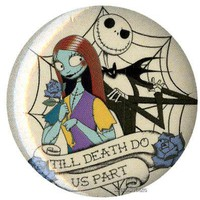 """Licensed cool NEW Disney Nightmare Before Christmas Jack Sally 1 1/4"""" Button Pin Lanyard Charm"""