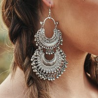 Leif Boho Layered Earrings (Silver)