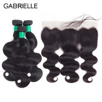 "Gabrielle Indian Body Wave 8"" to 28"" Human Hair 3 Bundles with 13x4 Lace Frontal Free/Middle/Three Part Natural Black 4pcs/lot"