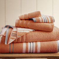 Coral Six-Piece Racer Stripe Yarn-Dyed Towel Set