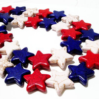 Star Howlite Gemstone Beads, Red White Blue Star Beads 4Th Of July Diy Project #American Flag #Stars #Independence Day