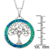 """Sterling Silver Tree of Life Created Blue Opal Circle Pendant with 18"""" Chain"""