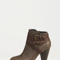 Ankle Wrapped Buckled Booties - Brown - 8.5