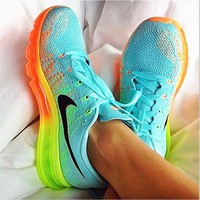 Tagre™ NIKE Trending Fashion Casual Sports Shoes Gradient knit Mint green(Orange yellow sole)