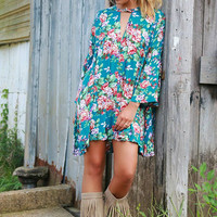 Open Pastures Teal Floral Bell Sleeve Hi-Low Trapeze Dress