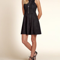 Faux Suede Skater Dress