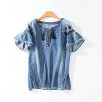 New 2017 Women Summer Fashion Blusa Denim Fabric Embroidery Neck and Sleeve Detail Bottom Side Slit Casual Blouse Femme