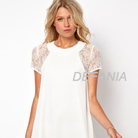Lace Chiffon White Elegant One Piece Dress = 5826393089