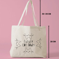 TBAG-333 - Future Cat Lady - Doodle - Drawing - Hipster - Printed Tote Bag Canvas - by HeartOnMyFingers